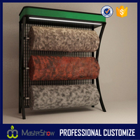 Fashionable carpet store furniture carpet sample rolling display rack