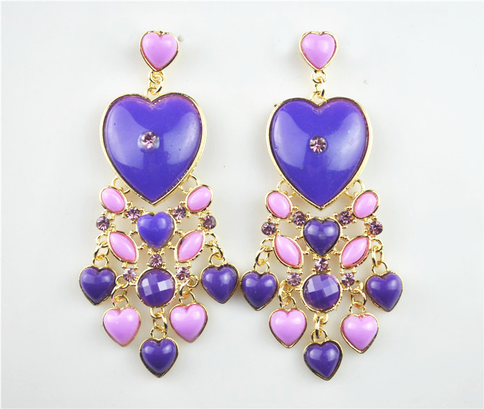 nzd5-5 Luxury Crystal Heart Waterdrop Earrings For Women 2015 New Fashion Colorful Wholesale Personality Earrings Free Shipping