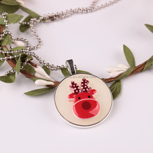 Christmas tree and snow man Printed Charm Lighting Pendant Woman <strong>Necklace</strong> For Woman