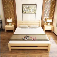 natural color solid wood hotel bedroom indoor double french style luxury pine bed