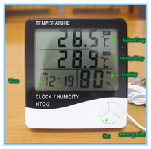 High-accuracy LCD Digital Electronic Temperature Humidity Meter Thermometer HTC-2 Tester Clock Household In/Outdoor with probe