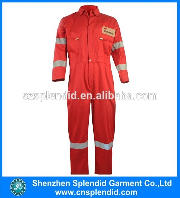 Custom work winter coverall protective safety reflective tap red work uniform