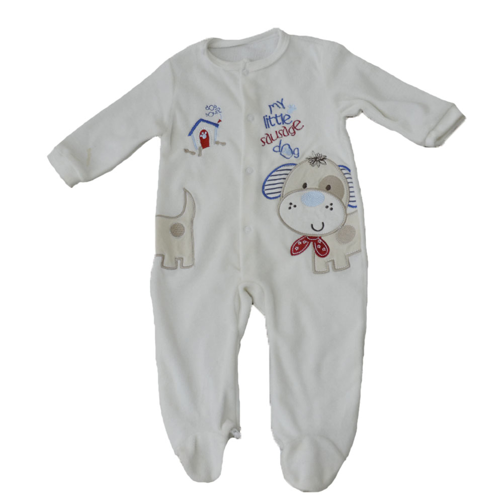 Polyester blended velvet white long sleeve footies jumpsuit baby rompers