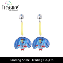 fashion jewelry brand latest hot selling blue crystal gold plated dangle earring