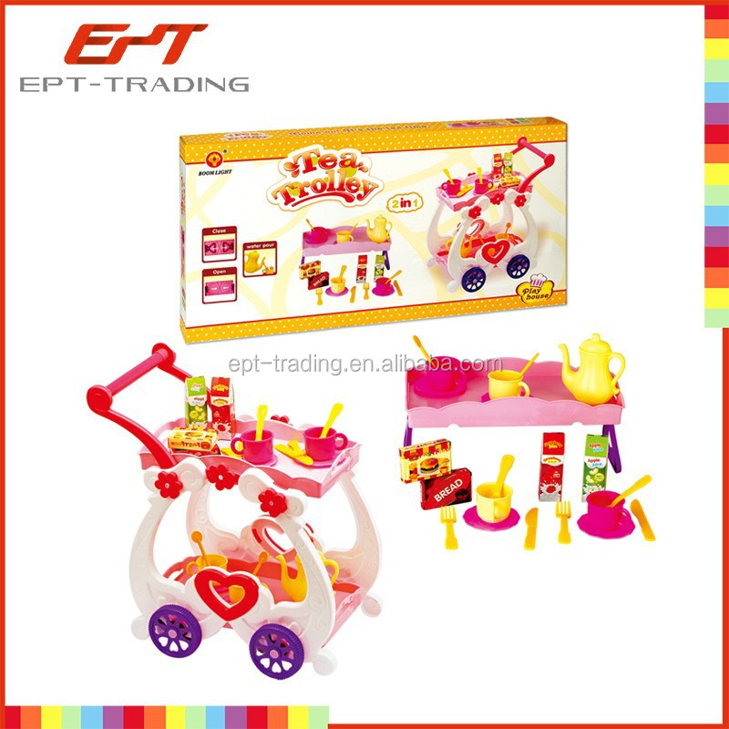 Kids pretend play set tea trolley toy