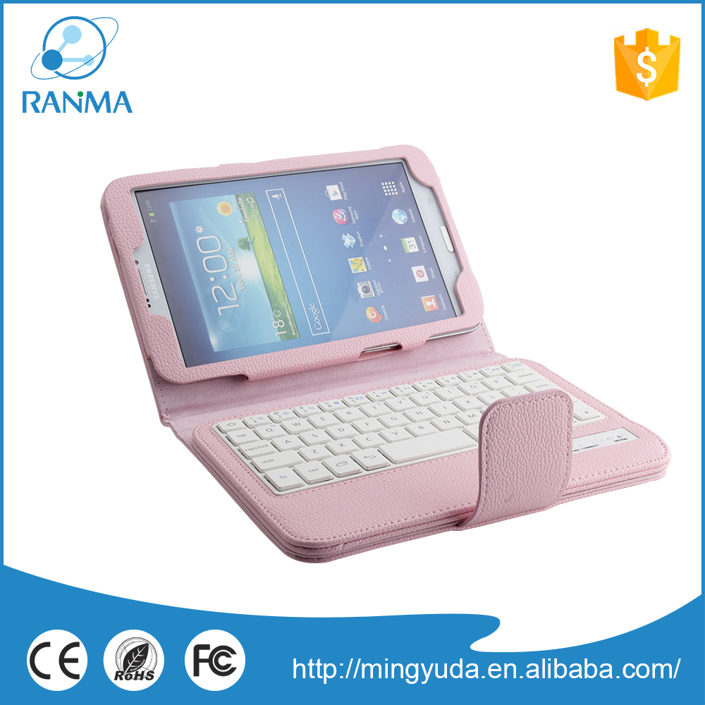 pu leather tablet removeable bluetooth keyboard case for samsung Tab 3 8.0