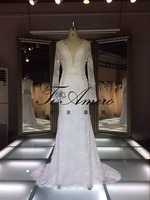 Whole Good Quality Lace Velvet Dresses /Mother Of The Groom Dresses Lace Deep V-neck Muslim Fat Africa Wedding Dresses