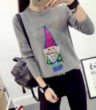 Europe and the new santa claus T-shirt sequins embroidery sweater loose knit shirt women sweet knitwear