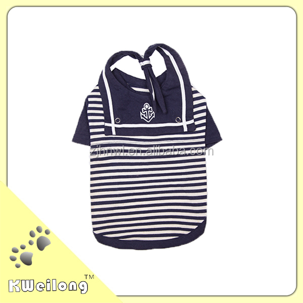 Blue stripe dog hoody with embroidery/sailor suit/pet T-shirt