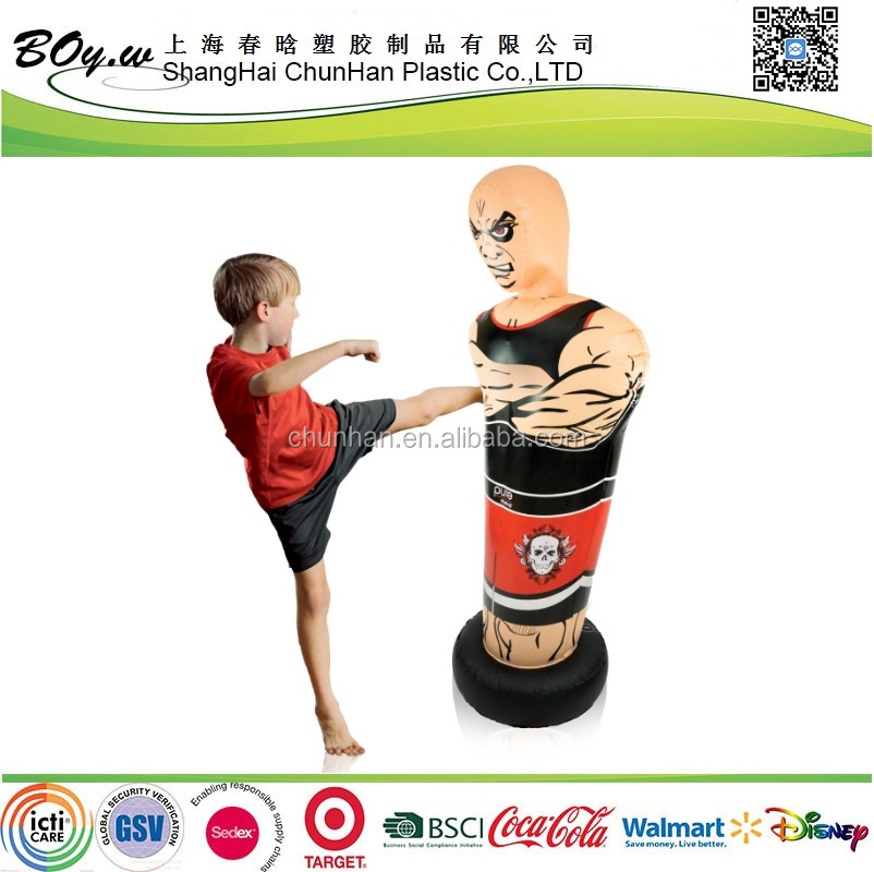 ICTI audit OEM bop pvc boxer shape children inflatable roly-poly toy