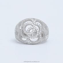 gold plated jewelry supplies rose flower full pave zircon 925 sterling silver wholesale spinner rings
