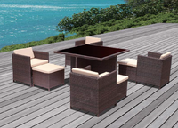 Popular Outdoor all weather plasic wicker four person black dining table and chair Rattan furniture