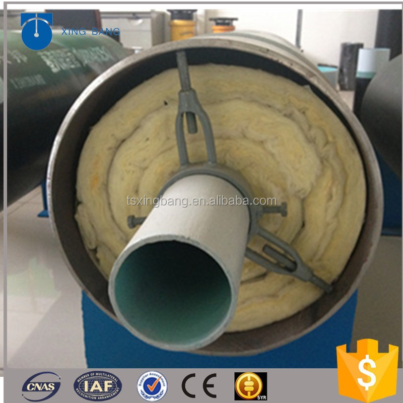 insulated steel pipe with rockwool material and aluminum foil for high temperature steam pipeline