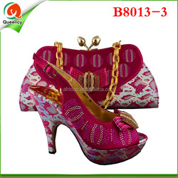 B8013-3 2015 hot fashionable cheap selling italian designer shoes and bags beach set ladies handbags guangzhou 2015