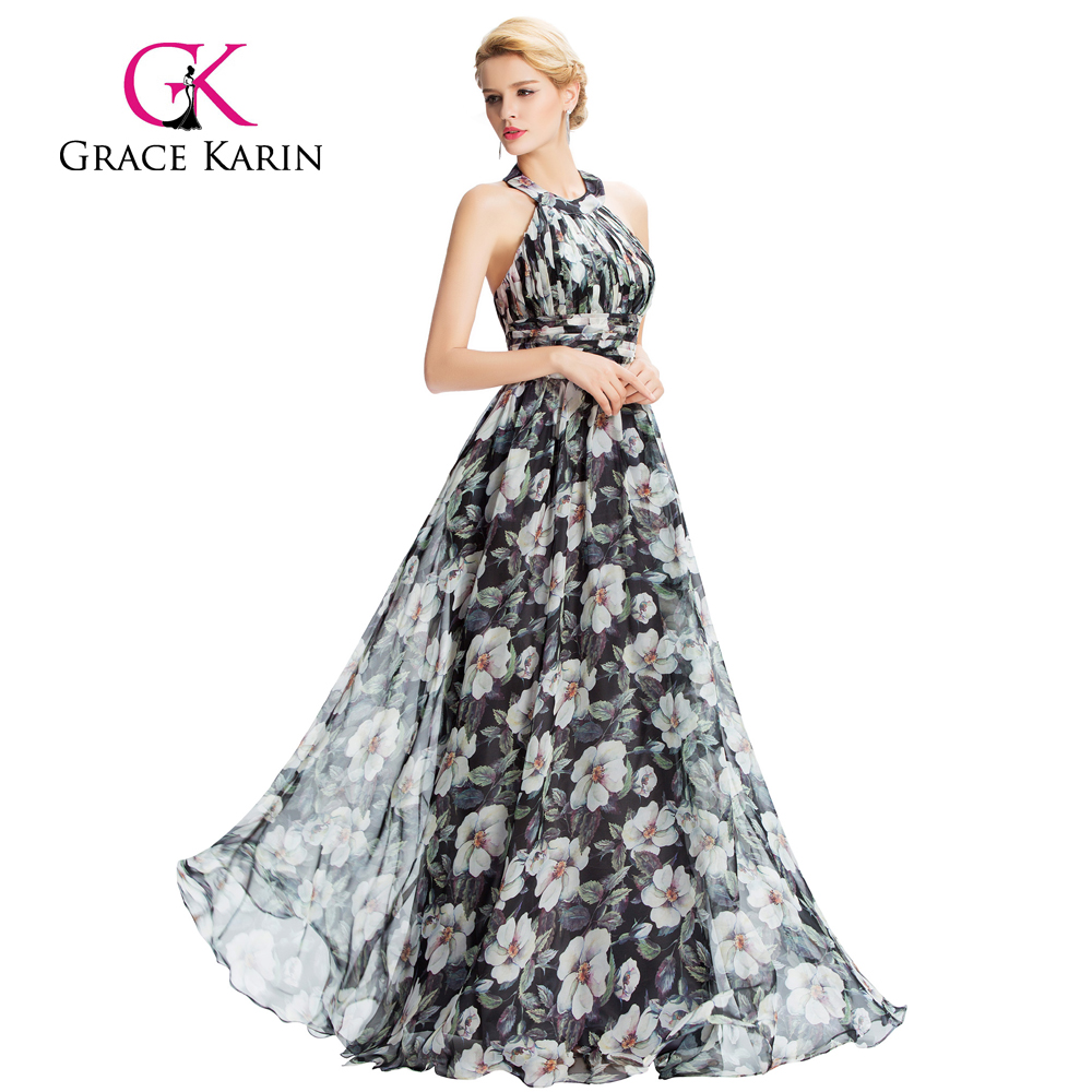 Grace Karin Flower Printed Pattern Backless Halter Chiffon Prom Dress vestidos de fiesta GK000035-1