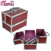 Fashion Design Red Beautiful Decorative Makeup Case With Compartments