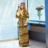 Custom Leopard printed cotton hooded floor length dressing gown