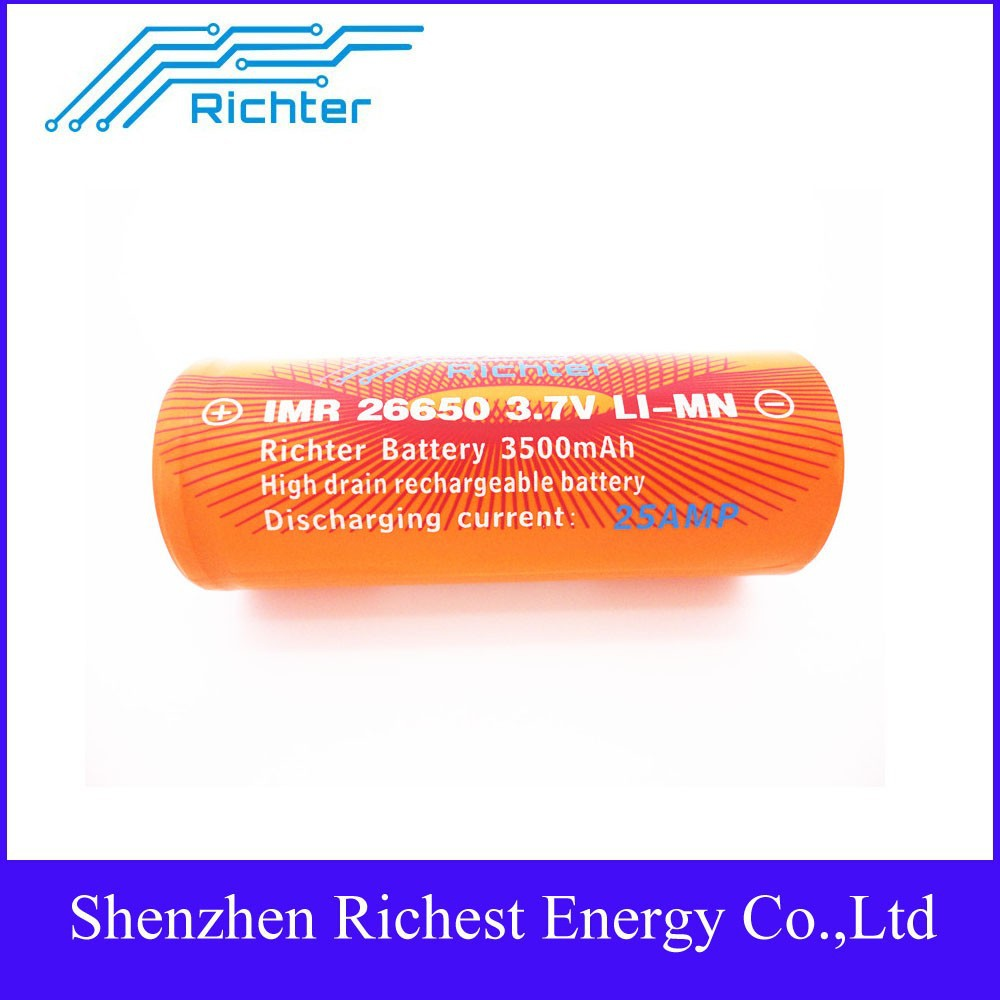 2015 Best Battery!! Richte IMR 18650 3.7V 3500 mAh 25A rechargeable battery 186503.7V 3500 mAh IMR18650 Rechargeable Battery 25A
