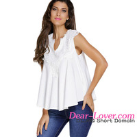 2017 Top sale women Embroidered style V neck white Blouse Top