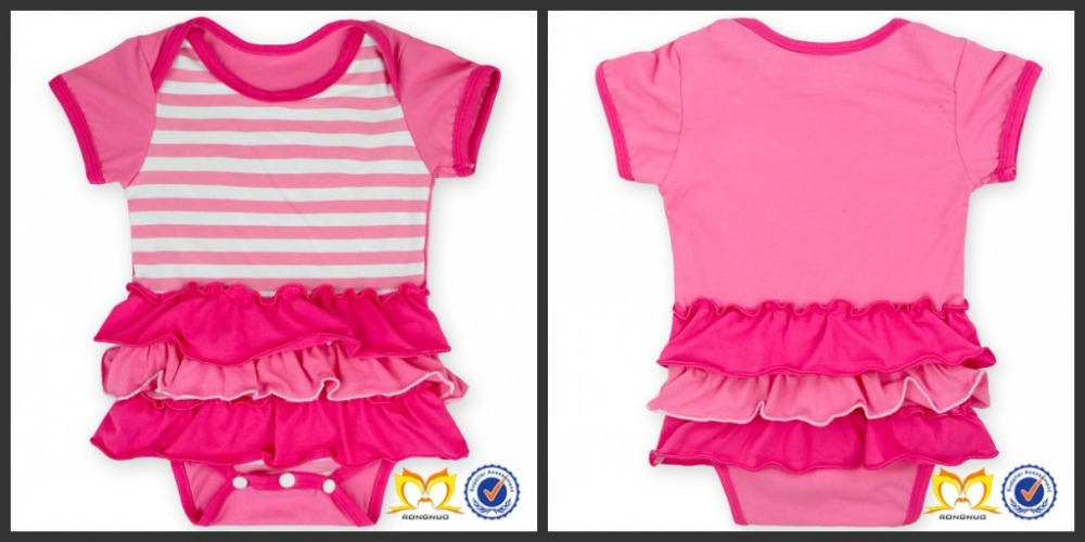 Lovely Ruffle Short Sleeve Infant Clothing Soft Knit Cotton Baby Romper Boutique Rompers