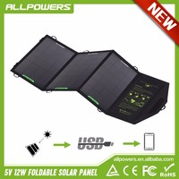 Portable 12W Foldable Solar Chargers Solar Panels Pack Outdoor Emergency Solar Chargers For Camping Climbing Hiking and so on