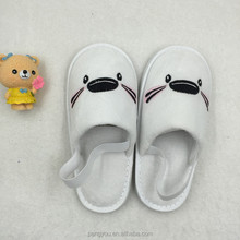 Cute close toe velour cotton kids slipper with elastic band