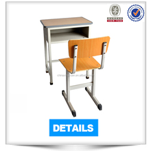 Economical study furniture single seat design wooden school desk and chair