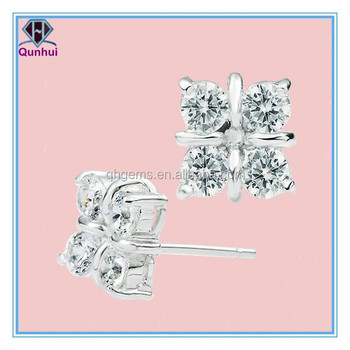round shaped white cubic zirconia earrings