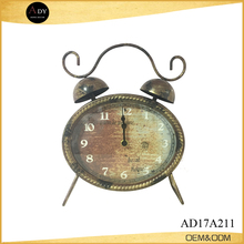 Light Gold Black Brushed Retro Metal Desk Clock
