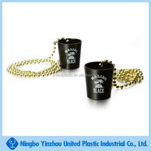 Mini promotional necklace party plastic unbreakable shot glass