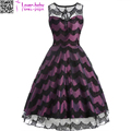 Zigzag Lace Transperant Women Strap Purple Black Mesh Formal Evening Dress L36196
