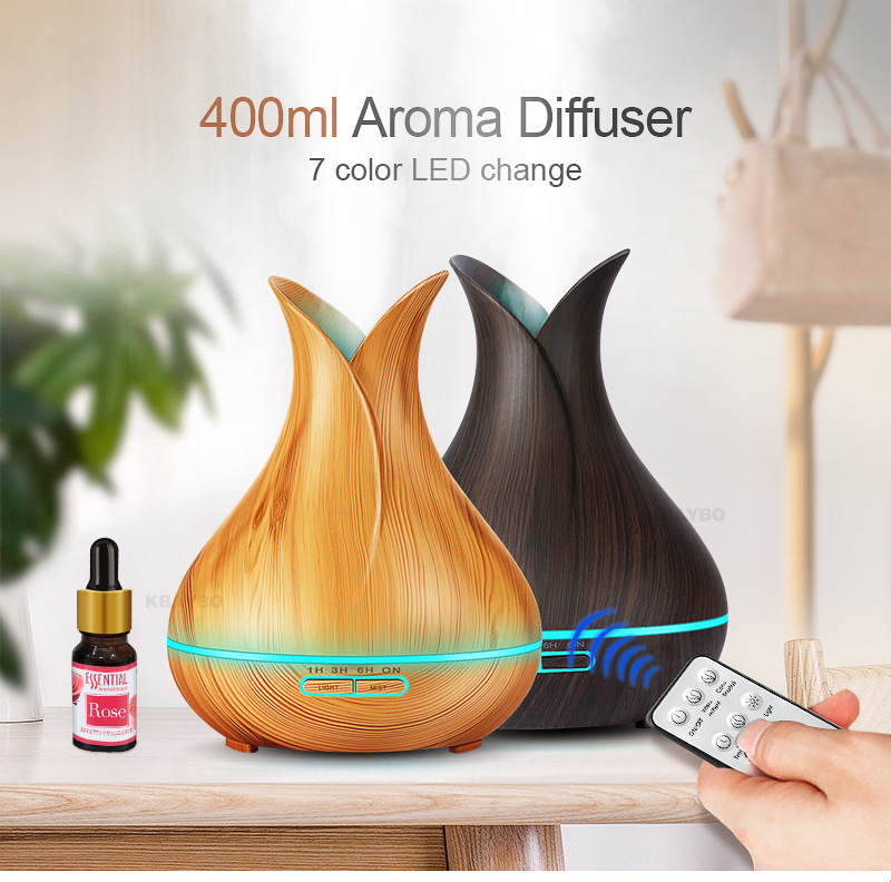 2018 Future Hot Product Idea Remote Control Flower Vase Wood <strong>Grain</strong> 400ML Essential Oi Diffuser