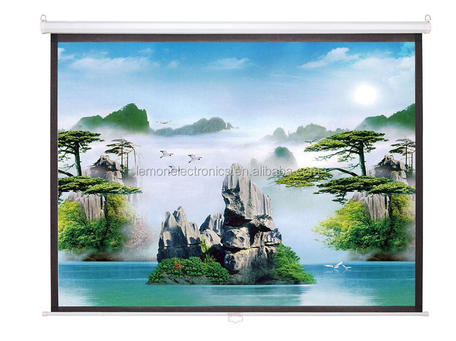 Self lock spring wall screen/wall hanging projection screen