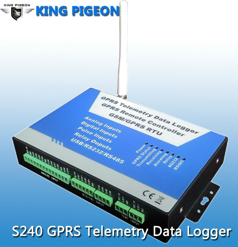 GPRS RTU telemetre data Logger S240 modbus with RS 485 pulse/analog/digital inputs and usb controlled relay