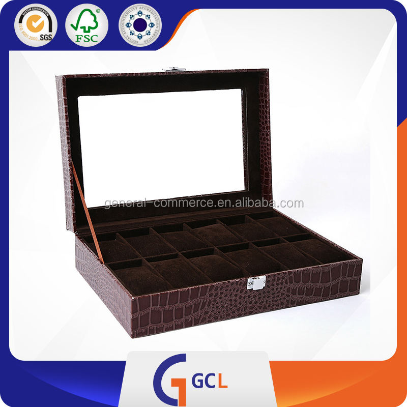 Top Quality 12 Slots PU leather Storage Watch Box for Men