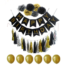 Black Paper Banner Paper Pom Baby 1st Birthday Party Paper Banner Decor Supplies Pom