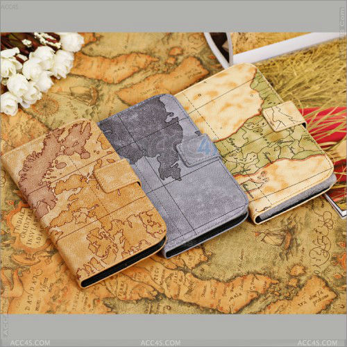 For Samsung Galaxy Mega 5.8 Retro Style Map Grain Leather Purse Case P-SAMI9150CASE007
