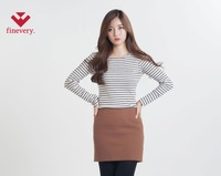 [Finevery] women's span rounded stripe t-shirt with a slim fit
