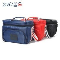 Waterproof Portable Fabric Thermal Lunch Cooler Bag Black Large Volume Men Outdoor Picnic Storage Bag