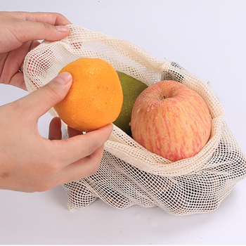 Eco friendly cotton fruit and vegetable net bag mesh bag fruit