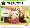 Fashion new decorative fancy unique jeweled cell phone cases with cute rabbit& pearl beads