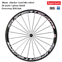 promotion Ultra light UD matte wheels carbon chinese carbon wheel with black Powerway R36 hub / 38mm tall clincher wheels