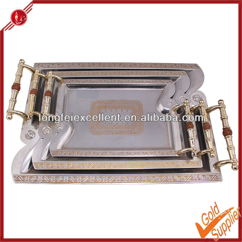 3pcs serving tray & food dish&plate mirror serving tray custom printed serving tray