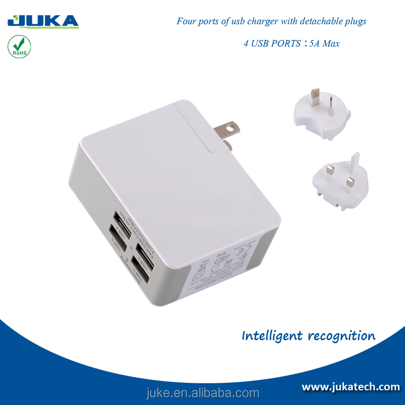 high efficiency multi-national changeable plug oem 5v 5a 4 port usb wall charger