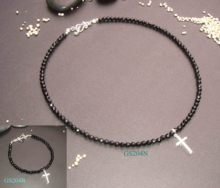 Onyx With Cz Cross Necklace And Bracelet Set