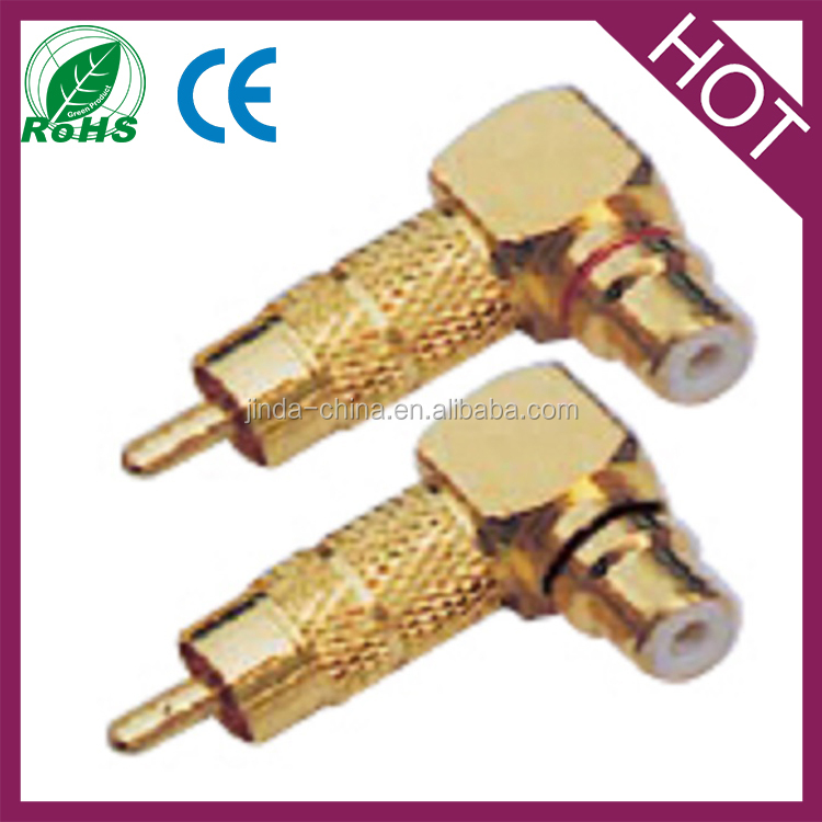 RCA right angle male to female connector plug