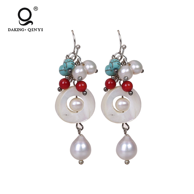 Fashion Designs Shell Glass And Turquoise Beads Freshwater Pearl Earring For Party Girls
