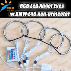 Angel Eyes RGB LED 5050 SMD Halo Ring Kit for BMW E46 3 Seri Non Projector Headlight Multi-color 131mm and 146mm
