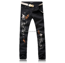 Durable And Nice Designed Fashion Jeans For Mens Fire Dragon Print Y098