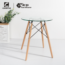 best price glass transparent round coffee dining table with wooden legs